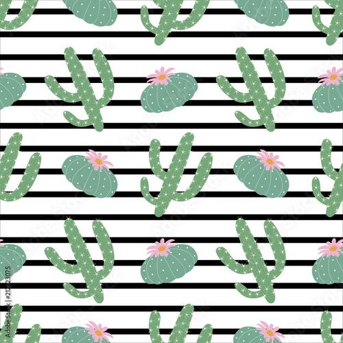 zielonych-roslin-kaktus-pejotl-wzor-na-czarno-biale-paski-poziome-tle-moda-lato-wektor-wydruku