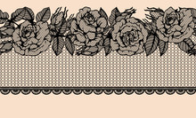 Rose Vector Lace Seamless Pattern By Hand Drawing.Beautiful Flower On Brown Background.Rose Lace Art Highly Detailed In Line Art Style.Flower Tattoo On Vintage Paper.