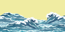 Sea Wave Horizontal Seamless Pattern In Oriental Vintage Ukiyo-e Style, Realistic Vector Illustration On Yellow Background, Ready For Parallax Effect.