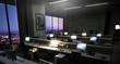 canvas print picture - Bürokomplex - Großraumbüro mit mehreren Arbeitsplätzen am Abend
