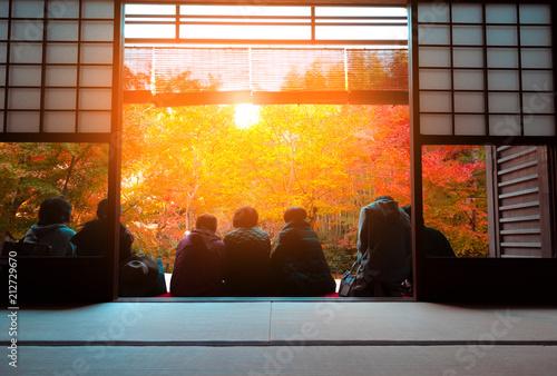 Foto op Canvas Kyoto Tourist view of autumn Japanese maple garden in Kyoto,Japan.