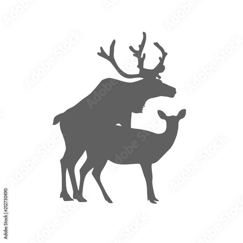 Mating deers silhouette. Flat icon