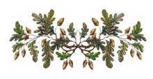 Watercolor Oak Branch Decoration