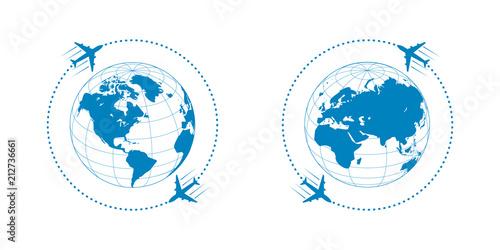 Obraz plane and globe - fototapety do salonu