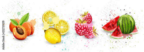 Fotografía  Watercolor fruits set Vector