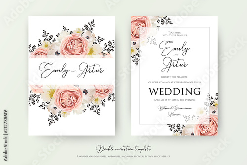 wedding floral double watercolor invite invitation save the date