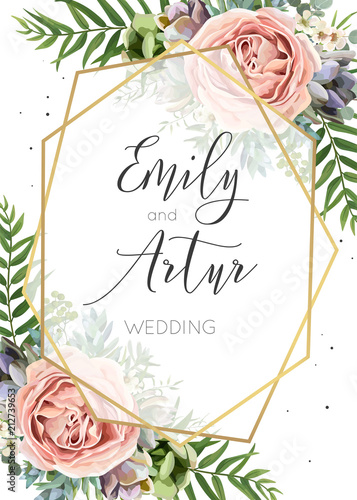 Fototapeta Wedding Invitation Floral Invite Save The Date Card Vector Design Watercolor Peach Lavender Pink Garden Rose Succulent Eucalyptus