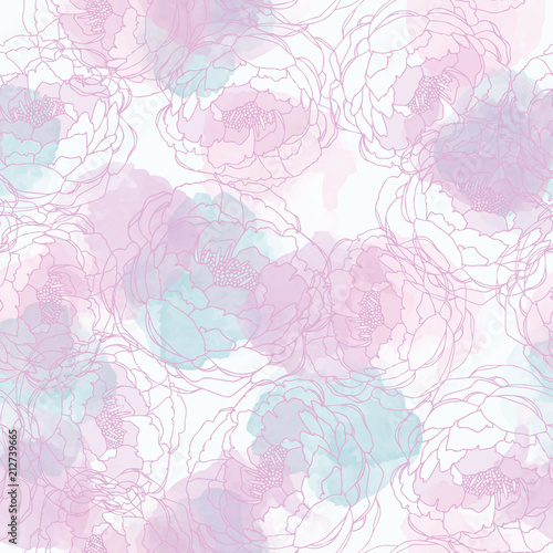 Abstract painting universal freehand watercolor seamless pattern with flowers. Graphic design for background, card, banner, poster, cover, invitation, header or brochure. Hand drawn vector texture