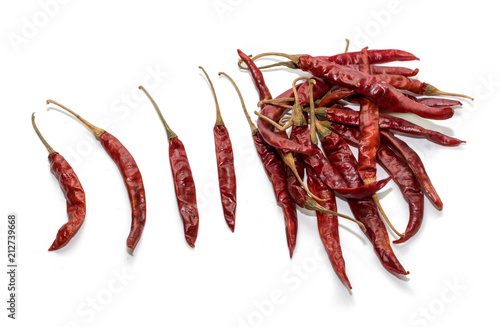 Fototapeta dried chilli on  white background obraz