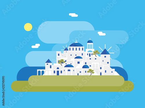 Aluminium Prints Blue Cartoon Santorini Island Village. Vector
