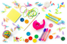 Background Of Colorful School Supplies  Isolated On White. Back To School Concept