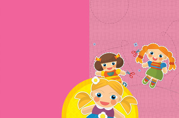 Fototapeta samoprzylepna cartoon scene with childrena and different elements - title page - illustration for children
