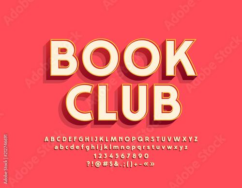 Vector Stylish Emblem Book Club Cool Font Bright 3d Alphabet
