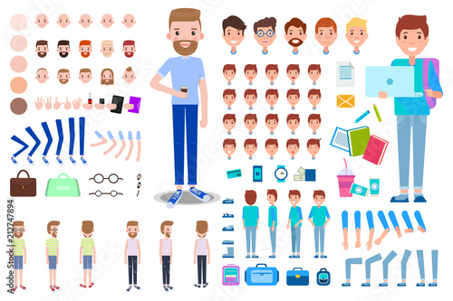 Photo Animated Businessman Student Constructor, Emotions