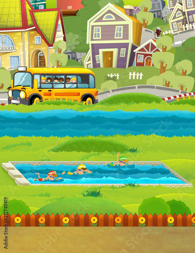 In de dag Lime groen cartoon scene with kids swimming in a pool and other watching from school bus - illustration for children