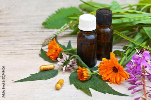Foto  Medical preparations based on medicinal herbs