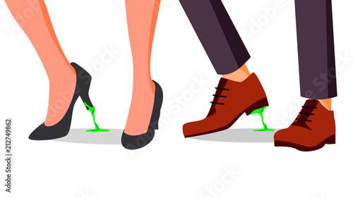 Business Trouble Concept Vector Feet Stuck Businessman Woman Shoe