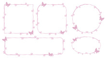 Thin Pink Princess Frame Outlines Contours Lines Beauty With Little Pink Butterflies Curls Spirals Cute Simple Geometric Square Circle Oval Objects Isolated On White Background
