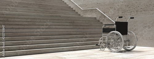 Wheelchair empty infront of concrete stairs. 3d illustration Canvas Print