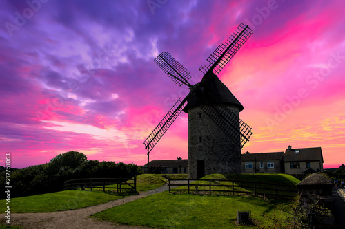 Photo Stands Candy pink Windmill in Sunset, Ireland