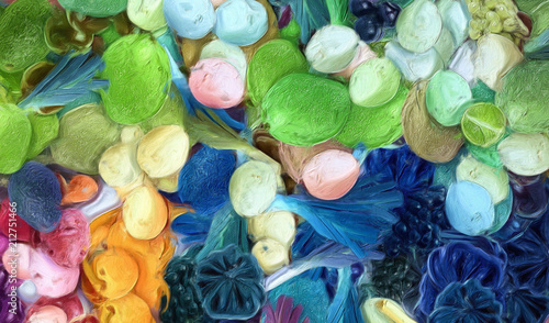 Abstract art background. Oil painting style vegetables. Warm colorful texture. Soft paint brushstrokes. Modern art. Contemporary artistic print. Template for design products decoration. Organic decor. - 212751466