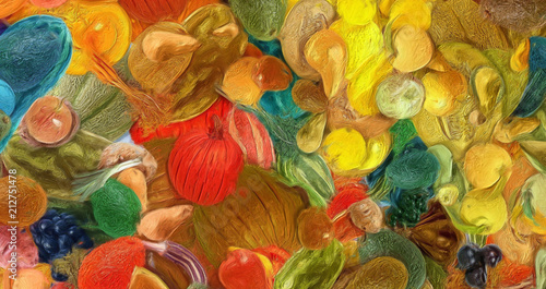 Abstract art background. Oil painting style vegetables. Warm colorful texture. Soft paint brushstrokes. Modern art. Contemporary artistic print. Template for design products decoration. Organic decor.