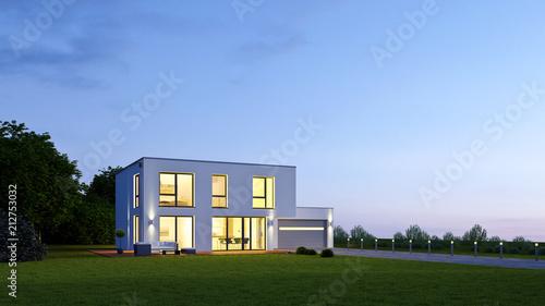 Obraz na plátně  Moderne Villa 18 am Abend