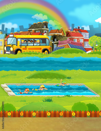 Poster Lime groen cartoon scene with kids swimming in a pool and other watching from school bus - illustration for children
