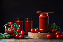 Tomato Sauce In A Glass Jar, T...