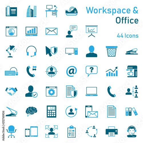 Fototapeta Office & Workspace - Iconset obraz na płótnie