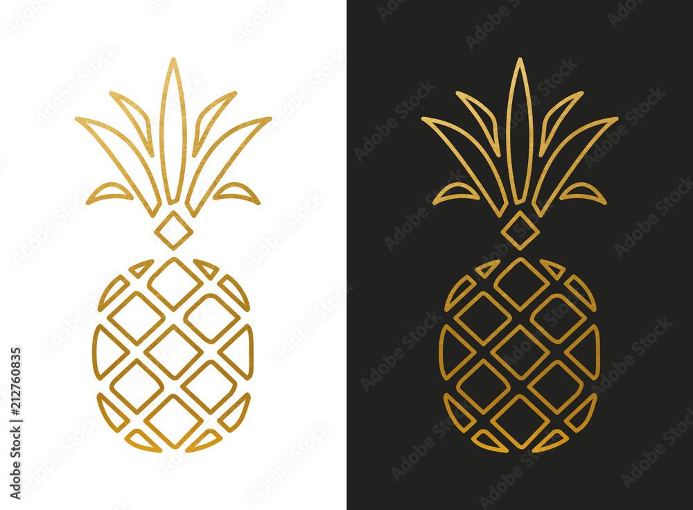 Fototapeta Modern Golden Pineapple Shape