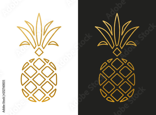 Modern Golden Pineapple Shape Wallpaper Mural