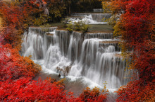Waterfall Landscape In Autumn ...