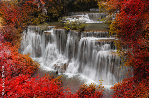 Foto op Canvas Herfst waterfall landscape in autumn forest