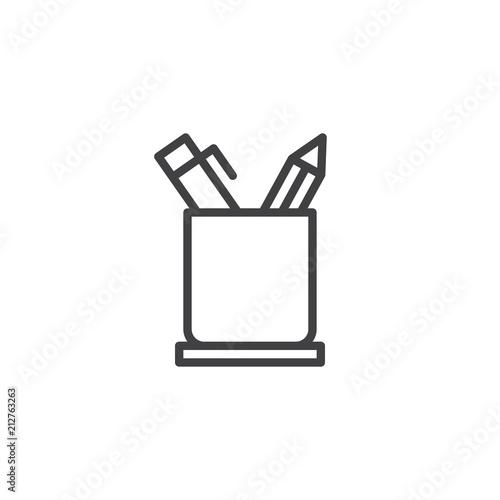 Fotografie, Obraz Pencil holder outline icon
