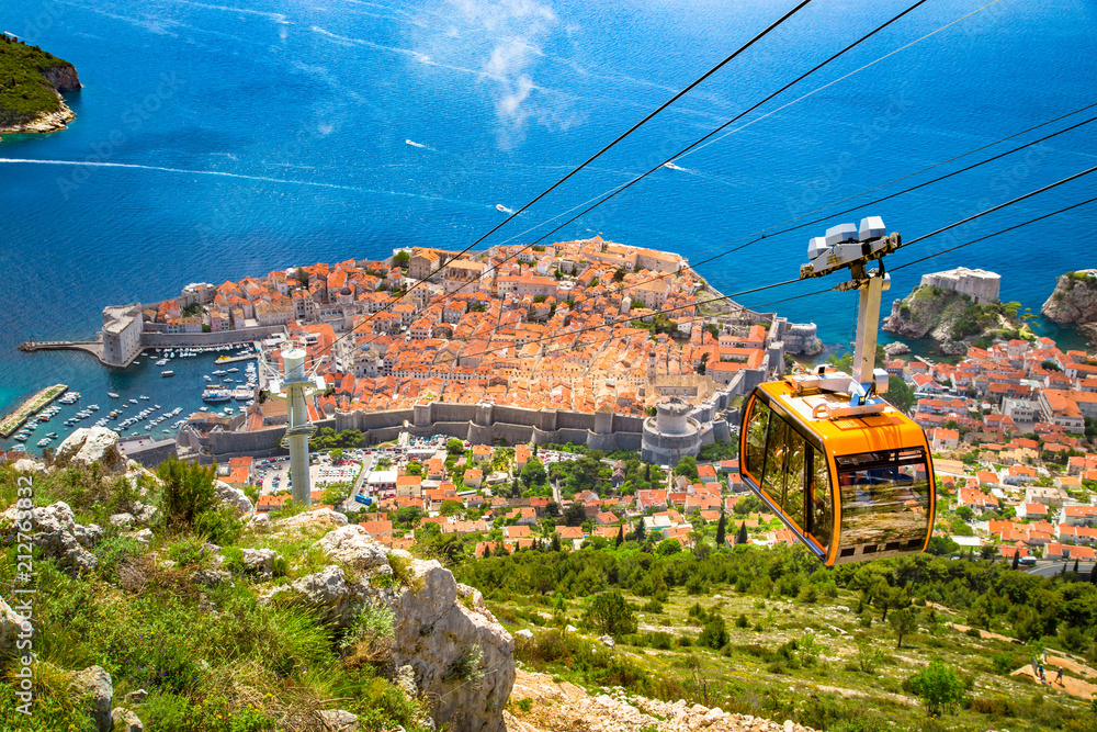Fototapety, obrazy: Old town of Dubrovnik with cable car ascending Srd mountain, Dalmatia, Croatia