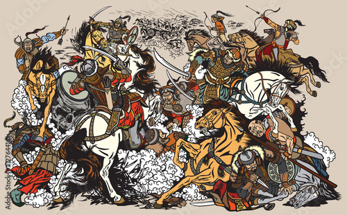 Fototapeta Battle between Mongols clans and tribes