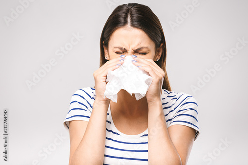 People, healthcare, rhinitis, cold and allergy concept - unhappy woman with pape Wallpaper Mural