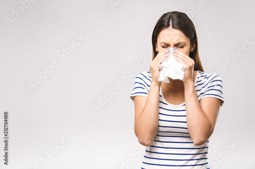 Fényképezés  People, healthcare, rhinitis, cold and allergy concept - unhappy woman with pape