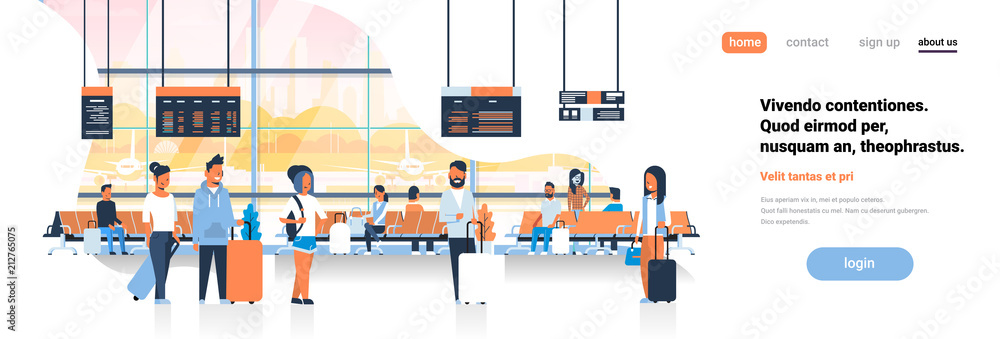 Fototapeta man woman waiting takeoff in airport hall departure lounge passengers terminal check interior flat banner copy space vector illustration
