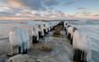 Zimowe wybrzeże Bałtyku,Kołobrzeg