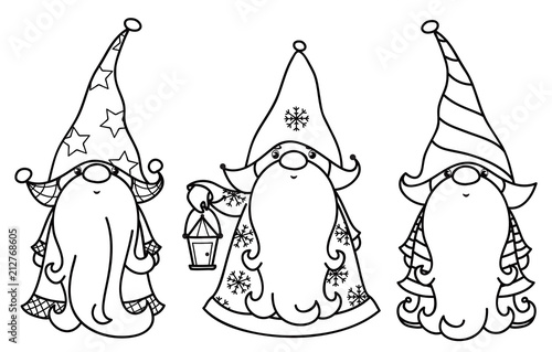 Christmas Images Cartoon Black And White.Vector Christmas Gnomes Cartoons Black Silhouettes Isolated