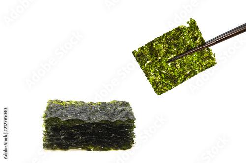 Tuinposter Kruiderij Nori Seaweed isolated on white background