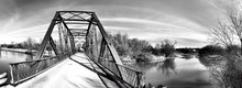 Panorama Of An Old Iron Bridge In Black And White