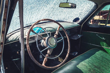 Cabin Of The Old Retro Car