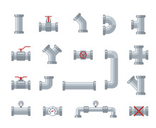 Pipe Steel And Plastic Connectors, Water Tubes. Plumbing, Pipeline Parts And Valves, Industrial Drainage System Vector Flat Icons