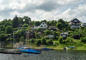 Fototapeta na wymiar Lake trip in Rurberg, Simmerath, North Rhine Westphalia, in the Eifel National Park in Germany