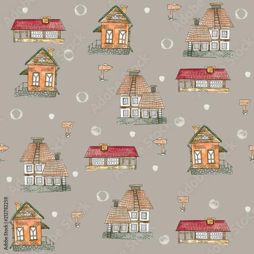 bezszwowy-wzor-z-akwarela-domami-stare-miasto-ulice-wies-na-brazowym-tle