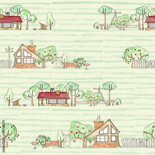 bezszwowy-wzor-z-drewnianymi-domami-ogrodem-drzewami-i-ogrodzeniem-na-zielonym-tle-akwarela-rysunek-dziecka