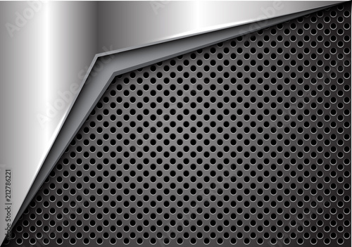 Fotografía  Abstract silver arrow on dark gray metallic circle mesh design modern futuristic background vector illustration